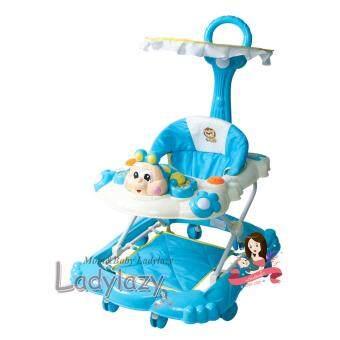 ladylazy รถเด็กหัดเดิน ปรับได้ 4 ระดับ ลายผึ้งน้อย สีฟ้า