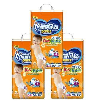ขายยกลัง! Mamy Poko กางเกงผ้าอ้อม รุ่น Happy Day & Night ไซส์ XXL 48 ชิ้น 3 แพ็ค (รวม 144 แพ็ค )