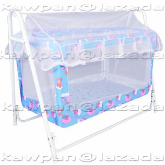 K.baby เปลไกวเด็กอ่อน ลายแฟนซี ขนาด (60 x 102 x 83) + มุ้งกันยุงและมลง (สีฟ้า) (image 0)