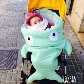 ถุงนอนเด็กปลาฉลาม ถุงนอนสำหรับเด็ก ที่นอนเด็ก เสื้อผ้าเด็ก Sleeping Bag สีเขียวมิ้น