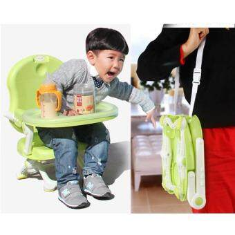 Mammy2baby เก้าอี้นั่งทานข้าวเด็ก พับได้ เก้าอี้เด็ก ปิคนิค พร้อมถาดอาหาร 6M+ ( Green )