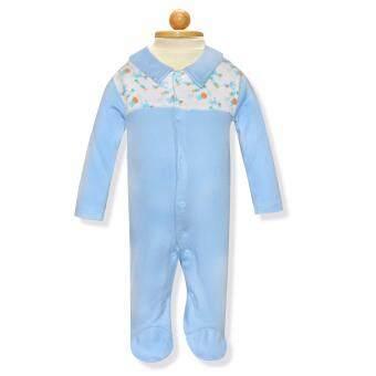 Babybrown ชุดหมี แขนยาว, ขายาวมีเท้า สีฟ้า สำหรับเด็กแรกเกิด - 3 เดือน