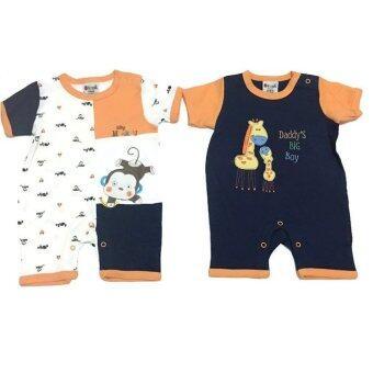 LITTLE BABY M เสื้อผ้าเด็กเล็ก ชุดหมีแพ็คคู่ ลายยีราฟสีกลม-ส้ม