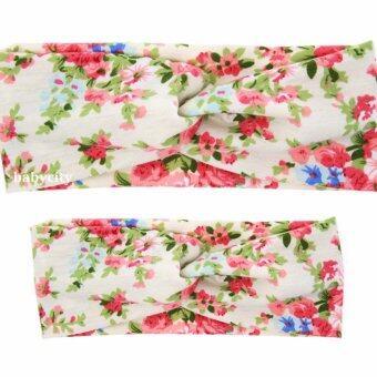 ที่คาดผมแม่ลูก ผ้าคาดผมแม่ลูก ที่คาดผมเด็ก ที่คาดผมแม่ลูก ชุดแม่ลูก เสื้อแม่ลูก สีชมพูเข้ม ลายดอกไม้