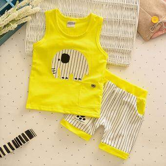 Harga Bear Fashion Baby Girls Boys Clothing Kids Summer Lucky Elephant Clothes 2pcs Set Suit - intl