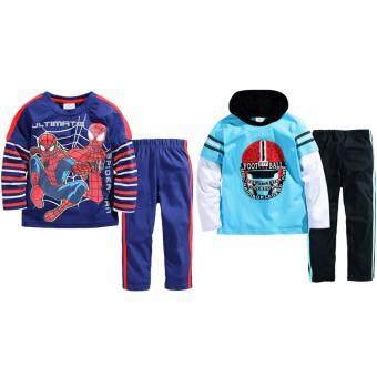 เสื้อแขนยาว กางเกงขายาว เข้าชุด 2 ชุด เด็ก อายุ 1-7 ปี ลายสไปเดอร์แมน+Football # 2841