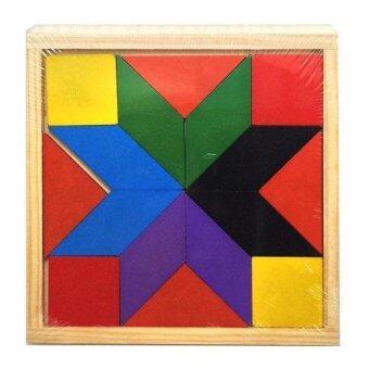 Tronic Grocer ของเล่นไม้ตัวต่อจิกซอว์หลากสีหลายรูปทรง Wood Toy Colorful Jigsaw Lego Block 16 Pieces