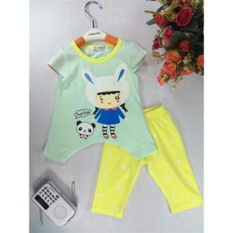 ple shop G0012 เสื้อคอกลมแขนตัดลายกระต่ายสีเขียว+กางเกงเลคกิ้งสีเหลือง