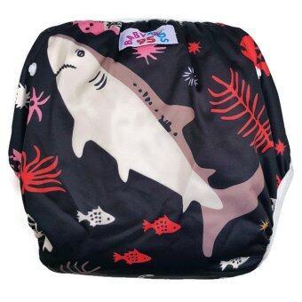 BABYKIDS95 กางเกงผ้าอ้อมว่ายน้ำ ปรับขนาดได้ รุ่น Digital Print ไซส์เด็ก 7-13.5 กก. ลายฉลาม (สีดำ)