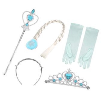 โอ้วันฮาโลวีนเด็กหญิงสีน้ำเงินสวมมงกุฎราชินีเจ้าหญิงหิมะกับถุงมือไม้กายสิทธิ์ผมคอสเพลย์