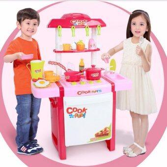 ชุดครัวของเล่นเด็ก มีไฟ มีเสียง ขนาดกลาง 49x30x67 cm. (ไม่เล็ก) พร้อมอุปกรณ์ครบชุด (สีสันสดใส)