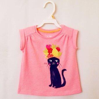 Baby Gap เสื้อแขนเบิ้ล สกรีนลายแมว ปักลายผลไม้ด้านหน้า สำหรับสาวน้อย(สีส้ม)