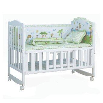 Baby Bed เตียงไม้เด็กสีขาว รุ่นอเนกประสงค์ 3 in 1 ลายสัตว์มหัศจรรย์ สิงโต Fantasy Island (สีขาว)