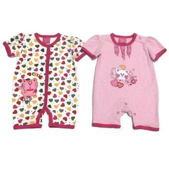 LITTLE BABY M เสื้อผ้าเด็กเล็ก ชุดหมีแพ็คคู่ ลายแมวชมพู
