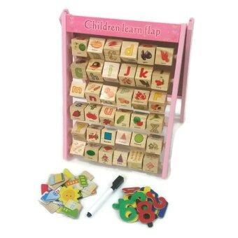Little Pumpkin ของเล่นไม้ เสริมพัฒนาการ กระดานไวท์บอร์ด+ปากกา รางลูกเต๋าคำศัพท์และตัวเลข พร้อมแผ่นแม่เหล็กสร้างเมืองและตัวเลข