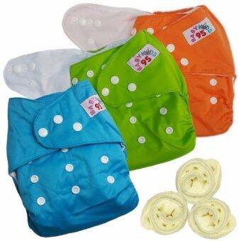 กางเกงผ้าอ้อมกันน้ำ+แผ่นซับไมโครฯ Size:3-16กก. เซ็ท3ตัว (Orange/Green/Blue)