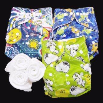 กางเกงผ้าอ้อม กันน้ำ PUL +แผ่นซับไมโครฯ Size:3-16กก. เซ็ท3ตัว A3-3017