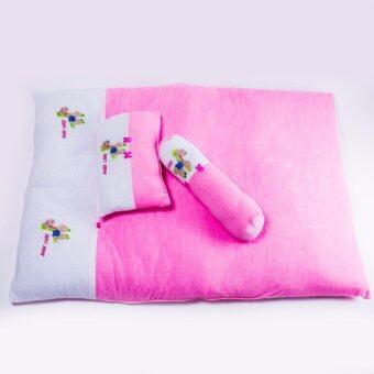 Babi care ชุดที่นอนเด็กผ้าขนหนูขนาดใหญ่ ที่นอน หมอน หมอนข้าง ( 1 ชุด ) สีชมพู