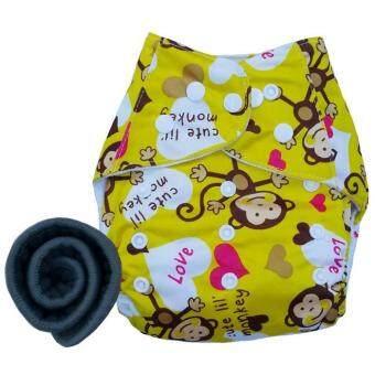 BABYKIDS95 กางเกงผ้าอ้อมกันน้ำ+แผ่นซับชาโคล Size:3-16กก. (Yellow Monkey)