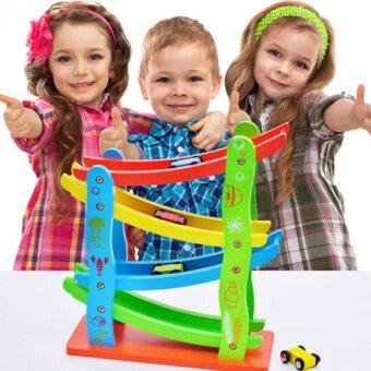 Kids Toys Miniature Speeding Car รถแข่งแบบ Slider ของเล่นไม้เสริมพัฒนาการ