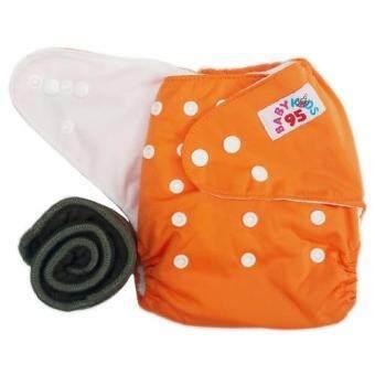 BABYKIDS95 กางเกงผ้าอ้อมกันน้ำ+แผ่นซับชาโคล Size:3-16กก. (Orange)