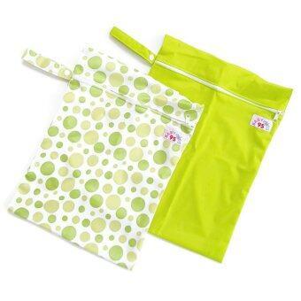 BABYKIDS95 ถุงผ้ากันน้ำ 1 ช่อง สำหรับใส่ผ้าอ้อม หรือผ้าเปียก เซ็ท 2 ชิ้น (สีเขียวอ่อน/ลายจุดเขียว)