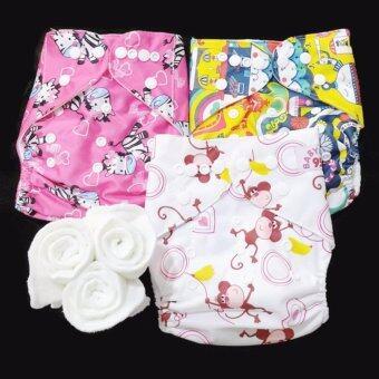 กางเกงผ้าอ้อม กันน้ำ PUL +แผ่นซับไมโครฯ Size:3-16กก. เซ็ท3ตัว A3-3005
