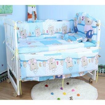 Baby Bed เตียงไม้เด็กสีขาว รุ่นอเนกประสงค์ 3 in 1 ลายหมีฟ้า Blue Teddy (สีขาว)