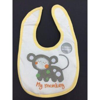 LITTLE ผ้ากันเปื้อนเด็ก ผ้ากันน้ำลาย เมจิกเทป กันน้ำได้ ลายลิง