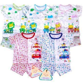 Baby heart ชุดเด็กแรกเกิด เสื้อแขนสั้นกางเกงขาสั้น 5ชุด รุ่น Cotton 100% แพ็ค 5 ชุด