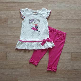Carter's ชุดเข้าเซ็ท เสื้อสีขาวลายรูปเด็ก+กางเกงเลคกิ้งสีชมพู