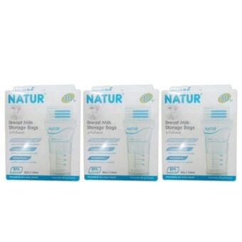 Natur Breast Milk Storage Bags 8 oz. เนเจอร์ ถุงเก็บน้ำนมแม่ 30 ถุง (3 ชุด)