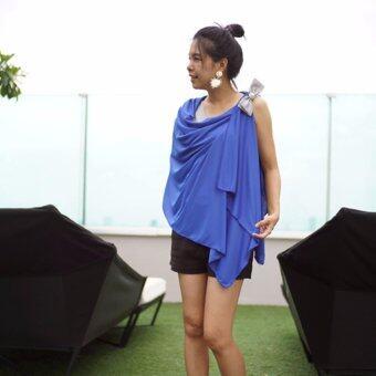 Likemelikeyou ผ้าคลุมให้นม4in1 สีน้ำเงินติดโบว์ซาตินสีดำ-บรอนซ์