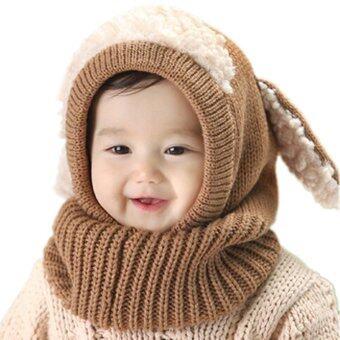 พวกเด็กผู้หญิงสวมหมวกฤดูหนาวลูกสุนัขหูหมวก Kintted เพศทารกอ่อนผ้าพันคอกากี