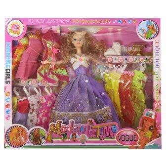 SCMShop ของเล่นสมมุติ ของเล่นเด็ก ตุ๊กตาบาบี้ เจ้าหญิง เปลี่ยนชุดได้มีแมว รุ่น 151160. (สีม่วง)