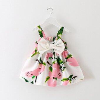 Harga Baby Girls Floral Dress Lemon Print Bowknot Dress(Pink)