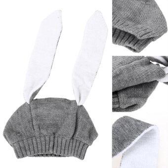 หมวกหูกระต่ายหนาวเด็ก ๆ สวมหมวกผ้าขนสัตว์ไหมพรมเด็กสำหรับเด็ก 0 แบบ 3 แกน Y (image 1)