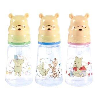 Disney Baby ขวดนม 4 ออนซ์ ลายหมีพูห์ บู๊ทฝาครอบหมีพูห์ พร้อมจุกนม ไซส์ M เซท 3 ขวด (ฟ้า เขียว ชมพู)