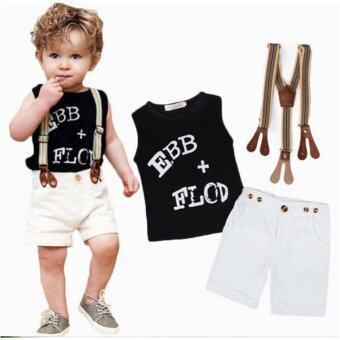 ชุดเด็กผู้ชาย 3 ชิ้น เสื้อแขนกุดสีดำ+สายคาด+กางเกงขาสั้น เหมาะกับเด็กขนาด 2-3 ขวบ ไซต์ 90