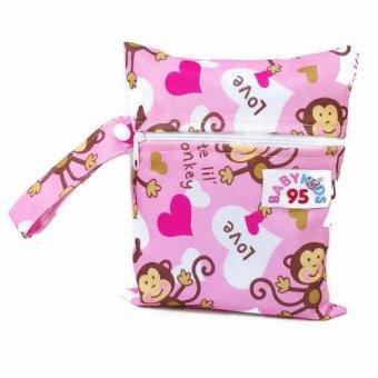 BABYKIDS95 ถุงผ้ากันน้ำ เอนกประสงค์ มินิไซส์ ขนาด 16*20 ซม. (สีชมพูลายลิง)(Pink)