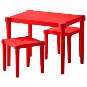 FIN-FIN โต๊ะเด็ก พร้อมเก้าอี้สตูล 2 ตัว (สีแดง)
