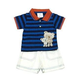 ฺBaby เซ็ทเสื้อผ้าเด็กชาย 2ชิ้น ( เสื้อ + กางเกง ) หมีลายสีน้ำเงิน