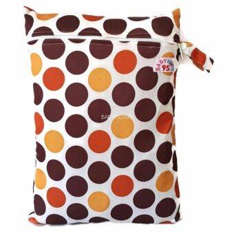 BABYKIDS95 ถุงผ้ากันน้ำ 1 ช่อง หูจับกระดุม Size: 34x40 cm. สำหรับใส่ผ้าอ้อม หรือผ้าเปียก สีพื้น A16 ลายจุดสีน้ำตาล