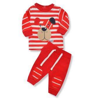 Babybrown ชุดเด็ก เสื้อแขนยาว , กางเกงขายาว สีแดง สำหรับเด็กแรกเกิด - 3 เดือน