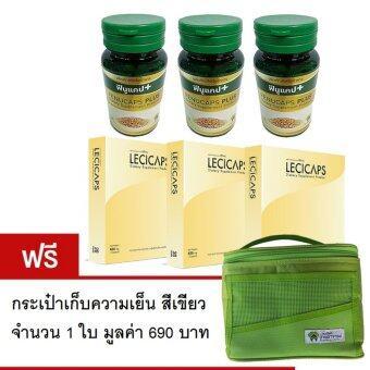 Fenucaps Plus ฟีนูแคปพลัส 3 ขวด พร้อม Lecicaps 3 กล่อง ฟรีกระเป๋าสีเขียว 1 ใบ