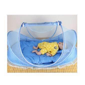 Kunkidshop ชุดที่นอนเด็ก+หมอน มีมุ้งครอบในตัว 2 in 1 มีดนตรี (สีฟ้า) (image 3)
