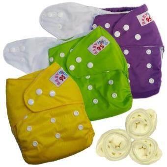 กางเกงผ้าอ้อมกันน้ำ+แผ่นซับไมโครฯ Size:3-16กก. เซ็ท3ตัว (Purple/Green/Yellow)