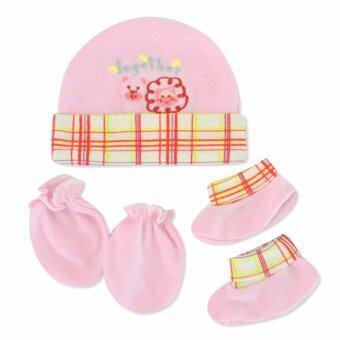 Babybrown ชุดเซ็ท หมวก ถุงมือ และถุงเท้า สีชมพู
