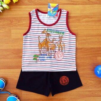 Baby Elegance เสื้อผ้า เด็กผู้ชาย เซ็ต 2 ชิ้น เสื้อกล้ามลายยีราฟ กางเกงขาสั้น ไซส์ 4