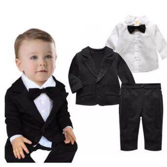 achute ชุดสูทเด็กสีดำ เนื้อผ้าดี ชุด3ชิ้น สำหรับเด็ก 6เดือน-3 ปี (Black 1-2yrs)